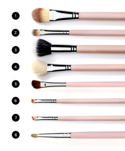 8 makeup brushes